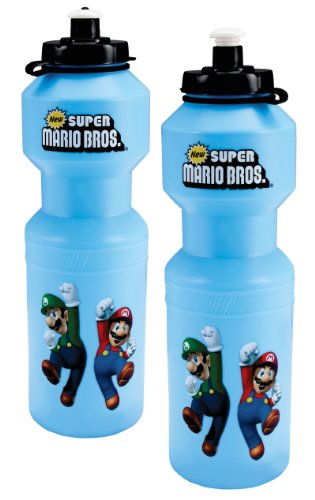 BirthdayExpress Super Mario Bros Party Favors - Plastic Sports Water Bottle with Top (4) by BirthdayExpress