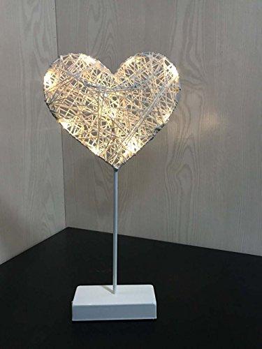 AMZSTAR Grass Rattan Woven LED Love Heart Light Decorative Desk Light Valentine's Day Romantic Night Light Bedroom Table Lamp (Heart)