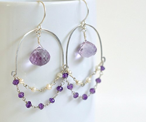 Purple Amethyst Earrings - White Freshwater Pearl Earrings - Exotic Sterling Silver Earrings - February Birthstone