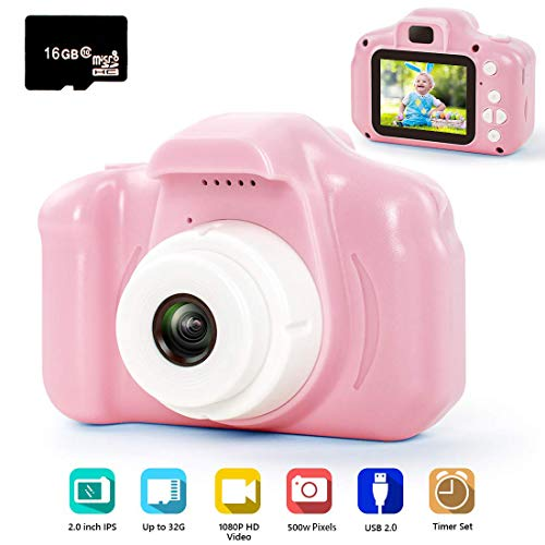 hyleton Digital Camera for Kids, 1080P FHD Kids Digital Video Camera Camcorder for 3-10 Years Girls Gift with 16GB SD Card & 2 Inch IPS Screen (Pink) (Christmas Most Gifts Popular 2019)