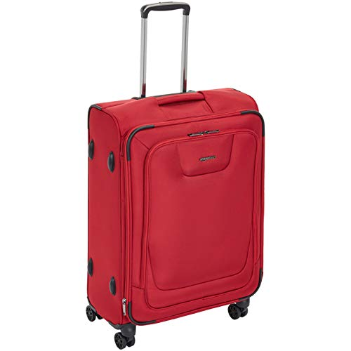 AmazonBasics Premium Expandable Softside Spinner Luggage With TSA Lock- 25 Inch, Red