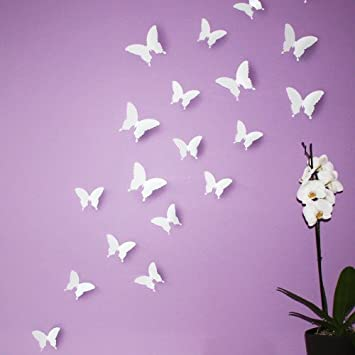 12 stücke 3D Doppel schicht Schmetterling Wand Aufkleber auf der ...