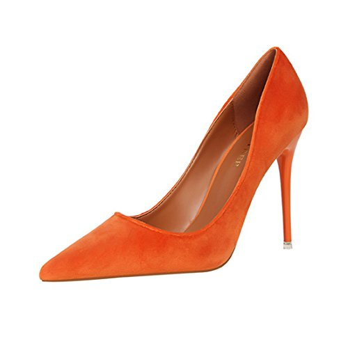HBOS Damen Pumps Mode Einfach Dünne Ferse High Heel Flache Spitze Samt Gesicht Orange