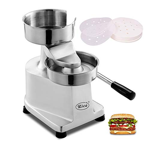 Zica 5 inches/130mm Sliver Commercial Hamburger Press Patty Maker Heavy Duty Meat Forming Processor, Stainless Steel Bowl, Includes 500 Pcs Patty Papers