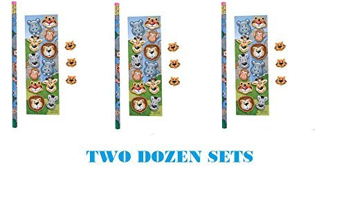 (24) Zoo Animal Stationary Sets ~ Zoo/Jungle Party Favors ~ Birthday Goody Bag Fillers ~ Teacher End Year Gifts ()