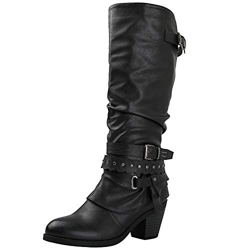 Slouch Riding Boots - GLOBALWIN Women's 18YY28 Black Fashion Boots 8.5M