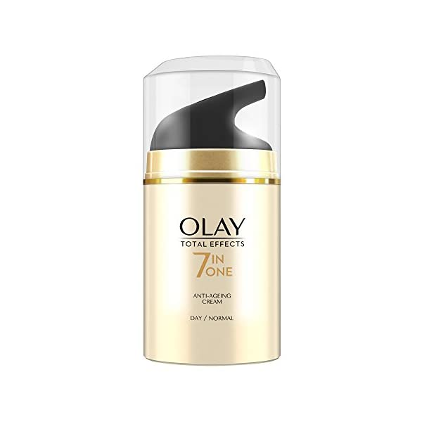 Olay Total Effects 7-in-1 Anti Aging Day Skin Cream, Normal, 50g 2021 July Specially formulated to help fight the 7 signs of skin ageing Reduces spots, firms skin, reduces the appearance of lines and wrinkles, smoothens and moisturizes skin, evens skin tone, reduces pores and makes your skin glow Formulated with a special complex of VitaNiacin and Anti-Oxidants which together work to fight the 7 signs of skin ageing and give you younger looking skin