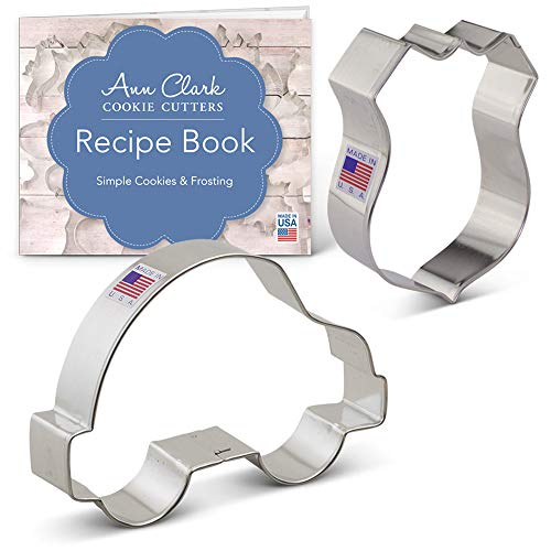Police Cookie Cutter Set with Recipe Booklet - 2 piece - Police Car & Badge - Ann Clark - USA Made Steel