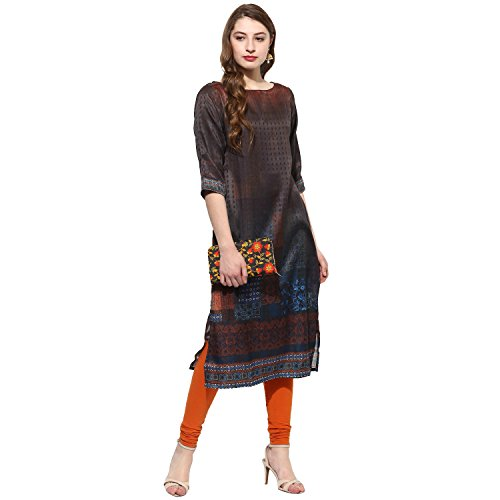 Lagi Kurtis Ethnic Women Kurta Kurti Tunic Digital Print Top Dress Casual Wear New Launch by Black by Lagi