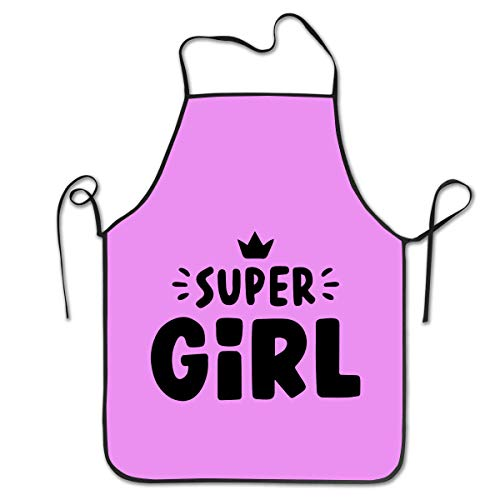SWDHOI Super Girl Apron, Unisex Kitchen Bib Apron for Cooking and Baking Gardening, 100% Polyester Adjustable Black Sewing Apron