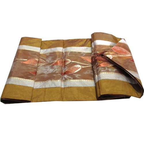"""HelloBangkok""BEAUTIFUL & COOL!! (TABLE / BED RUNNER) RAISED LEAF PATTERN ON YOUR BED SIZE WIDTH 14 INCHES LENGHT 76 INCHES For Sale"
