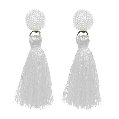Tassel Dangle Threader Drop Earrings Ear Studs Fringe Thread Hoops Linear Tribal Threading Charms Jewelry White Tone