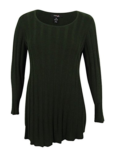 Style & Co. Women's Plus Size Ribbed-Knit Tunic Sweater (Dark Ivy, 2X) by Style & Co.