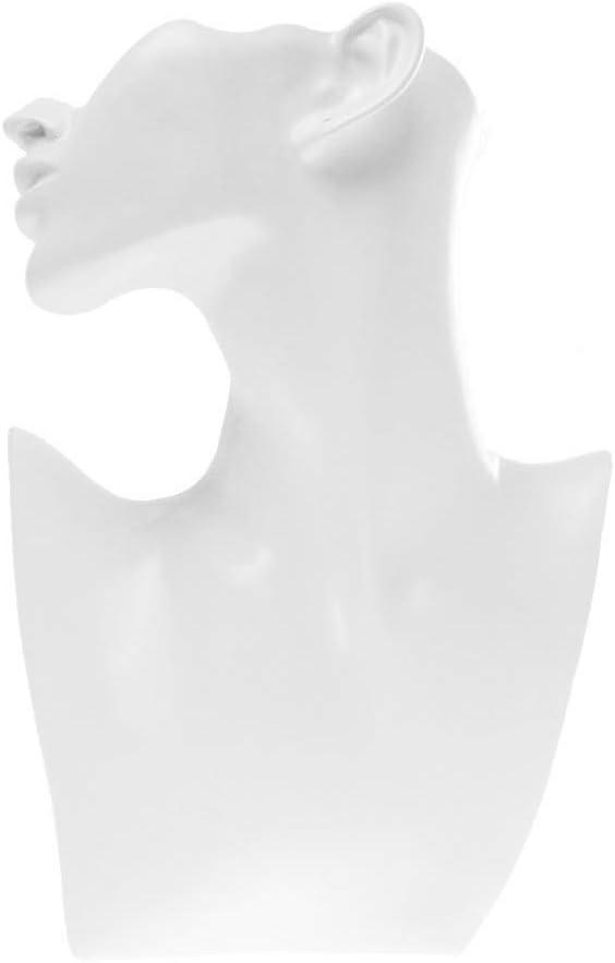 SODIAL Presentoir Support en Resine pour Bijoux Forme de Buste Mannequin Blanc