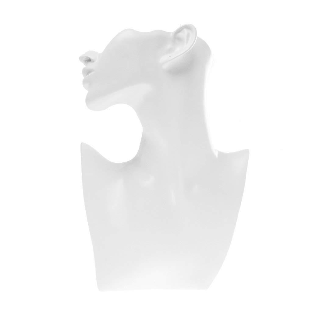 WOVELOT Presentoir Support en Resine pour Bijoux Forme de Buste Mannequin Blanc
