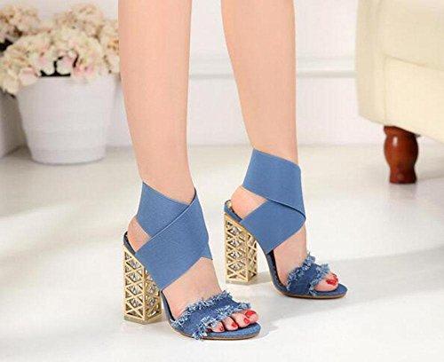 KUKI Crystal Rough mit offenen Zehen Sandalen wilde High Heel Cross elastische Schuhe 1