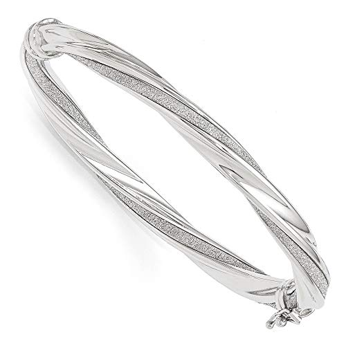 6.5mm 14k White Gold & Glitter Infused Twisted Hinged Bangle Bracelet