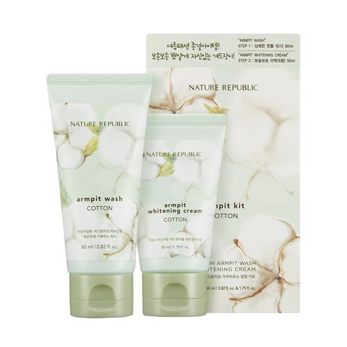 Nature Republic Cotton Armpit Kit Underarm Scrub Wash 80ml and Underarm Whitening Cream