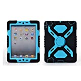 Elecday Authentic Spider-man Extreme-Duty Military Survivor Silicone Plastic Protective Case Dual Layer water/Dust/Shock/Sand Proof Absorbing Kid-proof With Wall/Glass/Wood Attachable Kids Children Gift Stand Designed For Apple iPad Mini/ Mini2/ Mini 2 (Blue/green)