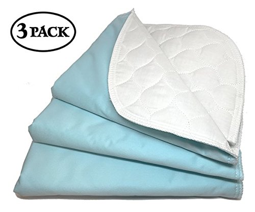 "RMS Ultra Soft 4-Layer Washable and Reusable Incontinence Bed Underpads, 18""X24"" (3 Pack)"