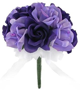Amazon.com: Purple and Lavender Silk Rose Toss Bouquet - Bridal ...