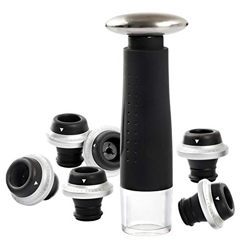 Secura Vacuum Wine Saver Preserver Pump with 6 Wine Bottle Stoppers