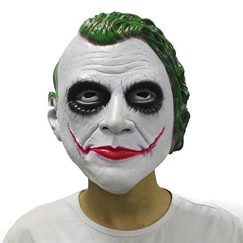 LePy Joker Clown Mask The Dark Knight Batman Movie Half Face Halloween Party Costume White