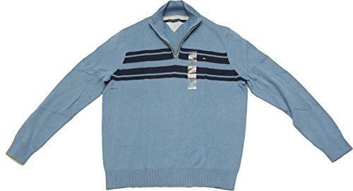 Tommy Hilfiger Mens Half Zip Mock Neck Sweater (X-Large, Coronet - Outlet Tommy Sale