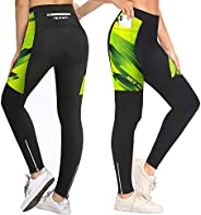 NICEWIN Women Padded Cycling Tights with Pockets Long Legging Breathable Trousers Ankle Zipper MTB Compression