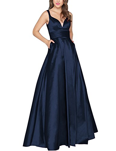(Now and Forever Women's V Neck Prom Dresses with Pocket 2018 Long Satin Backless Formal Evening Party Gowns (Navy Blue,4))