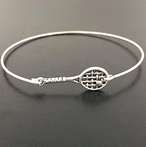 Tennis Bracelet Charm Bangle Tennis Lover Gift Idea for Player Coach Fan Team Jewelry Avg Size Woman ()