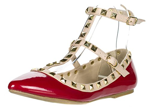 Buckle Accent Ballet Flats (Wild Diva Women's Studded Accent Pointed Toe Ballet Flats)