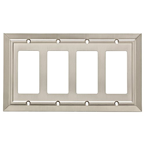 - Franklin Brass W35228-SN-C Classic Architecture Quad Decorator Wall Plate/Switch Plate/Cover, Satin Nickel