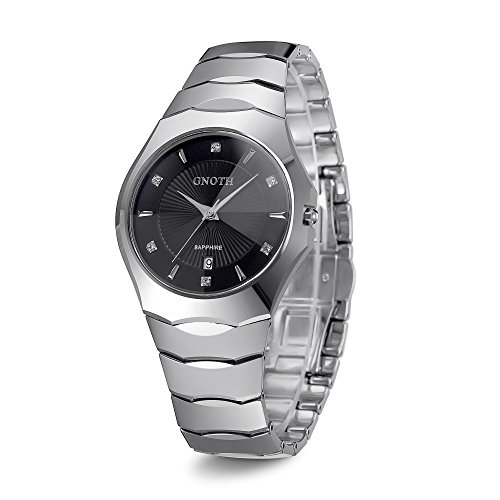 Men's Tungsten Watch GNOTH Classic Analog Quartz Wrist Watch with Date Calendar (Silver)