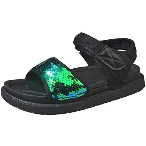 Piatta Con Uk colore Dimensione In Apertura Velcro Verde Sandali 4 Paillettes Verde A Punta Camoscio Eeayyygch wRXBxqR