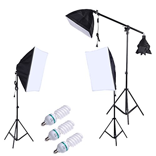 Anself Professional Photography Photo Lighting Kit Set with 5500K 135W Daylight Studio Bulb Light Stand Square Cube Softbox Cantilever Bag