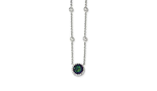 Best Designer Jewelry Sterling Silver Polished Dark Mystic CZ Necklace