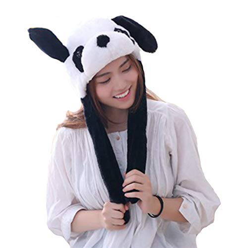 Debbieicy Lovely Costume Props Plush Bunny Hat Cute Animal with Movable Ears-Ideal Gift for Party and Celebrations (Panda)