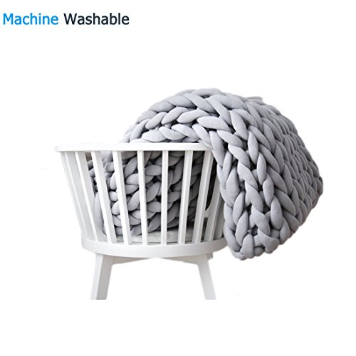 EASTSURE Chunky Knit Cotton Blanket Hand-Made Cute Bed Sofa Throw Machinee Washable Super Large Grey 47