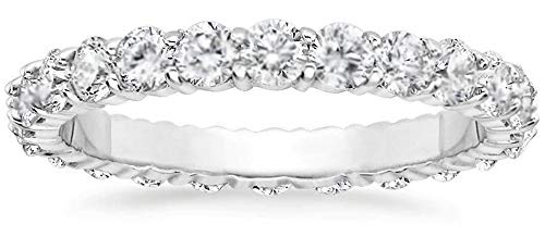 1ct. Round Cut Natural Diamond Eternity Wedding Band 14k White Gold Womens Ring (6) (Round Diamond Band Wedding)