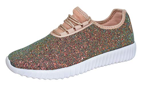 (ROXY ROSE Kids/Chidren Fashion Jogger Sneaker - Lightweight Glitter Quilted Lace up Shoes & Elastic Tongue (10 M US Toddler, Green Hologram))