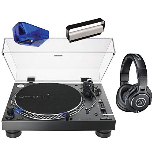 Audio Technica AT-LP140XP Direct-Drive Professional DJ Turntable - Black with ATN-XP3 Replacement Stylus, ATH-M40x Headphones and Vinyl Brush Cleaner