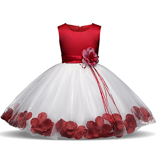 Baby Dress (NNJXD Girl Tutu Flower Petals Bow Bridal Dress for Toddler Girl Size 13-18 Months Red 1)