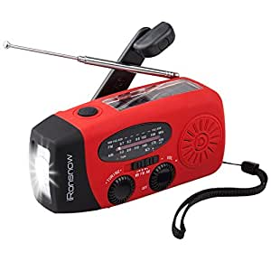 iRonsnow 2019 Version Is-088U+ Dynamo Solar Hand Crank Self Powered Am/Fm/NOAA Weather Radio with Led Flashlight and 1000Mah Emergency Power Bank (Red)