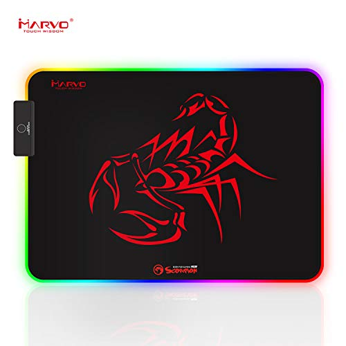 Mouse Pad, Marvo RGB Gaming Mouse Pad with Control Glowing Edging, Non-Slip Rubber Base Mousepad for Home, Office & Travel, 13.78 x 9.84