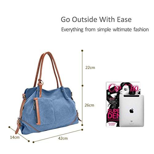 Style Pezzi Canvas Big Preppy Handbag Tre amp;doris Spalla A Donne Nicole Nuove Bag Azzurro CSRBqwnp