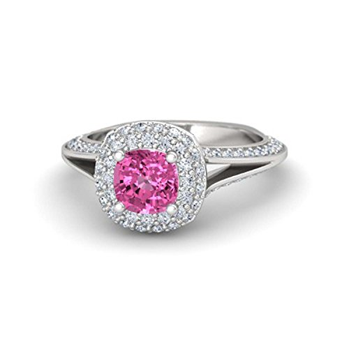 - Womens Jewelry 14k Gold Plated Alloy 6MM Cushion Cut Created Pink Sapphire & White Cubic Zirconia Ariel Princess Ring Engagement & Wedding Ring