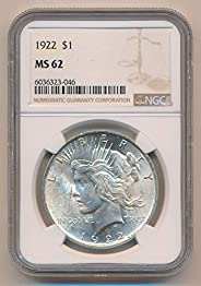 1922 P Morgan Dollars MS62 NGC
