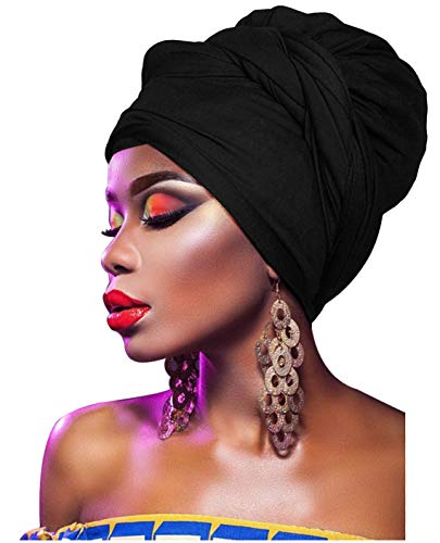 (L'VOW Women' Soft Stretch Headband Long Head Wrap Scarf Turban Tie (Black))