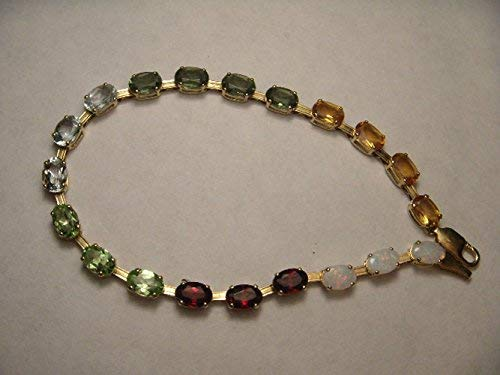 14K Gold Tourmaline Peridot Aquamarine Citrine Opal Garnet Tennis Bracelet